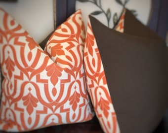 Outdoor Orange Beige Pillow Cover, Brown Pillow, Decorative Pillow Covers, Home Decor, Home Living, Housewares Decor, Outdoor Cushion 0011