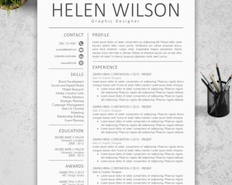 modern resume template cv template cover letter reference letter for word instant