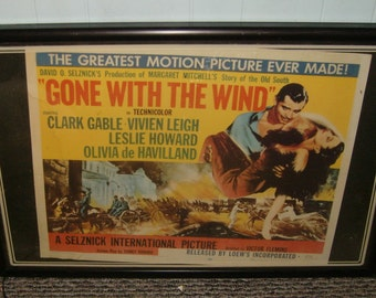 XXXrare-genuine original loews 1954 gone with the wind theater lobby lighted window poster and marque'-dallas palace theater-still works