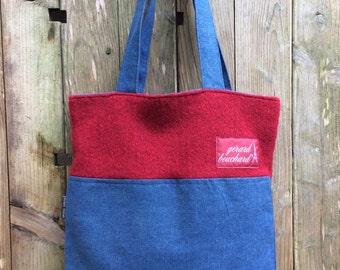 Denim and woolen tweed, tote bag, shopping bag, travel bag, laptop bag, shoulder bag, hand bag, Gift, upcyled