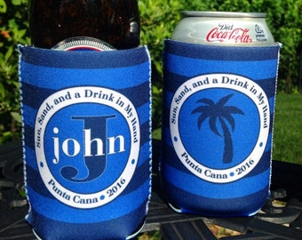 Vacation insulated can / bottle coolers - personalized - Navy and Blue Stripes - Palm Tree - Custom Wording