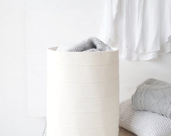 Laundry hamper. Large toy storage basket. Nursery fabric basket. Canvas storage bin. Bathroom bucket White home decor Laundry room Kids room
