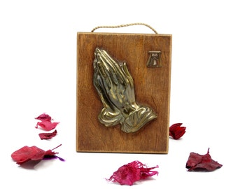 Praying Hands - Religious Wall Hanging - Brass Praying Hands Wall Plaque - Catholic Picture - Catholic Home Decor - Praying Hands Plaque