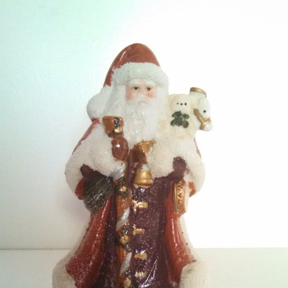 Vintage christmas santa ceramic figurine collectible by