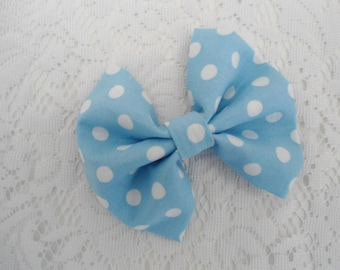 "Blue Hair Bow, Blue with White Dots, Hair Clip Bow, Blue Bow, Bow Tie, Blue Hair Clip Hair Bow, White Dots, Alligator Clip, 4.5"" x 4"", NEW"