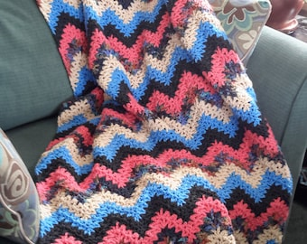 Brightly Colored Zigzag Crocheted Afghan