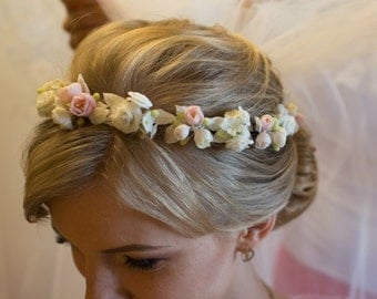 Flower headband, white sakura crown, wedding flower crown, bridal headpiece, woodland crown, rustic flower crown, bridal flower crown