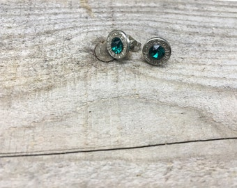 9mm Bullet & Turquoise Crystal Post Earrings
