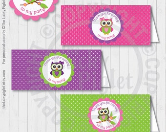 OWL BAG TOPPERS, Owl Thank You Bag Labels, Printable Owl Labels, Party Treat Bag Topper - Instant Download
