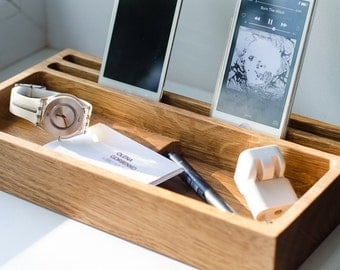 docking station for 3 devices DOCK #317 handmade. engraving. family docking. ecofriendly. charge station. dock station. desk organizer. iPad