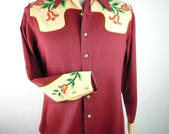 Vintage Late 1940s Cowboy Shirt, Gabardine, Maroon and Tan with Emboridered Yoke, Handmade / Homemade, Size L, McCall's 1332