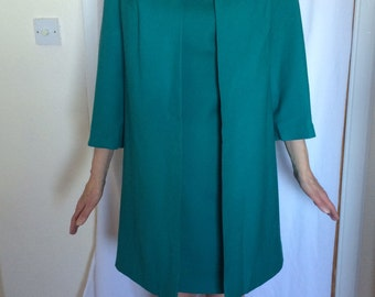 Vintage 1960s embellished shift dress and coat, emerald green, wedding guest's perfect outfit