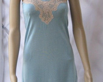 Lace NIGHTDRESS vintage NIGHTGOWN romantic robe slip sky blue
