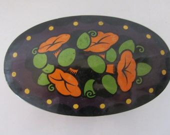 Metal Tin Box with Lid and with orange flowers of Indian cress made in 1930s