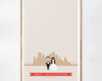 Pittsburgh Wedding Guest Book Alternative, Custom Pennsylvania Wedding Sign, City Skyline Print, Gift for the Couple, Guestbook Ideas