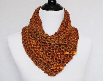 Copper Brown Button Cowl, Tan Crochet Neck Warmer, Gold Brown Button Scarf, Crochet Wrap, Collar Scarf