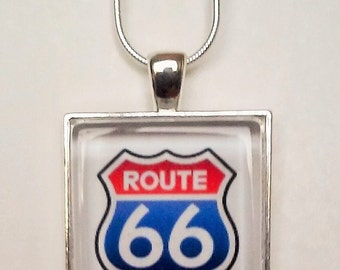 Route 66 road sign pendent necklace