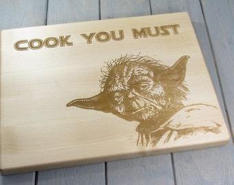 STAR WARS YODA Cook You Must Jedi Cutting Board  Kitchen Decor Christmas Gift Housewarming Gift Personalized Cutting Board Gift For Him