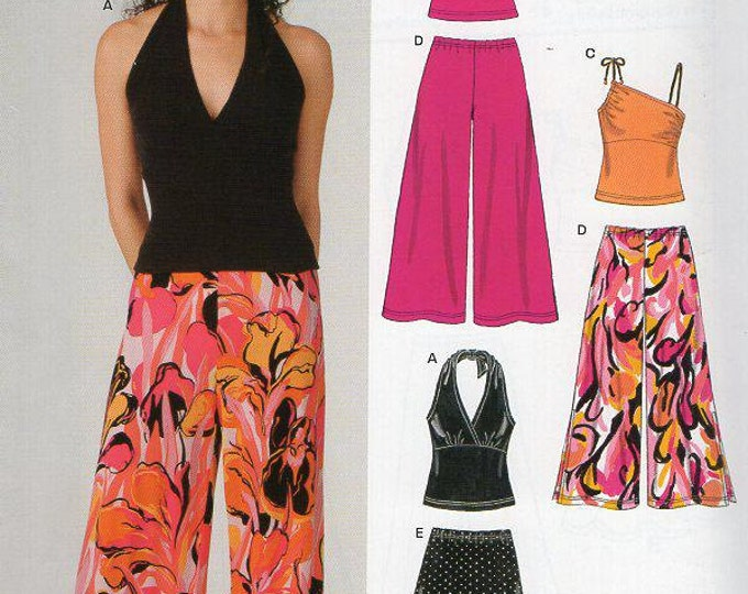 FREE US SHIP Sewing Pattern New Look 6383 Out of Print Sewing Pattern Fitted Halter Bodice Wide Palazzo Hostess Pants Size 6 8 10 12 14 16