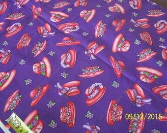 Red Hat Society Red Hats Fabric - Out of Print ~ Sold by the Fat Quarter or 1/4 Yard, 100% Cotton
