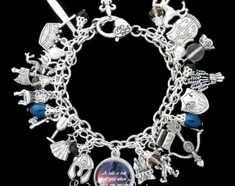 Medieval Times Themed Charm Bracelet, Dragon, Knight, Quote Inspired