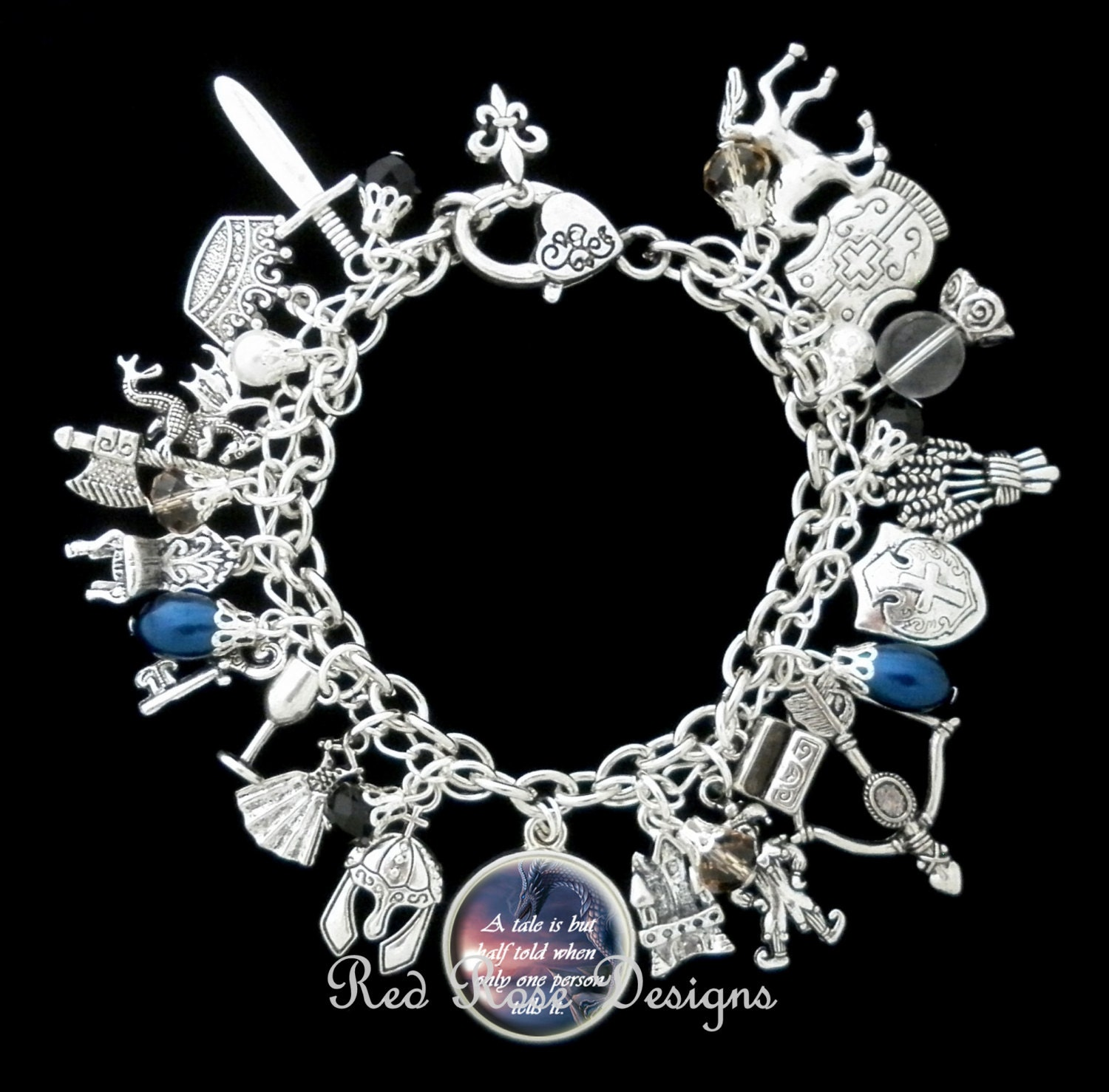 Medieval Times Quotes: Medieval Times Themed Charm Bracelet Dragon Knight Quote