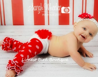 Red ruffle bloomers and ruffled leg warmer set
