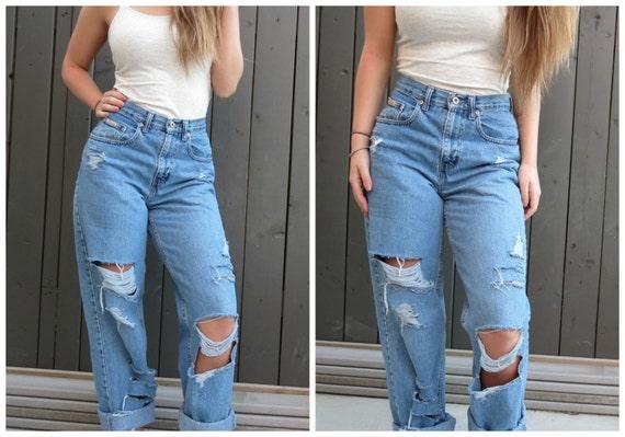 SALE 90's High Waist Distressed Boyfriend Jeans All