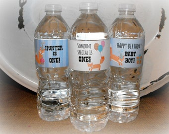 First Birthday Favors, Baby's Birthday Party, Water Bottle Labels, Baby Boy, Printable Water Bottle Labels