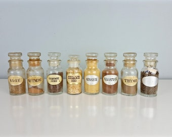set of 8 glass spice jars glass apothecary jars with stopper small apothecary jars - Spice Jars