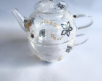 NEW Glass Teapot with teacup