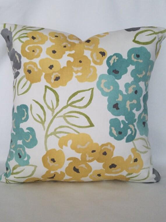 Teal and yellow pillow gray pillow pillows floral pillows