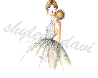 "Fashion Illustration Print ""Lace Elegance"" (unframed)"