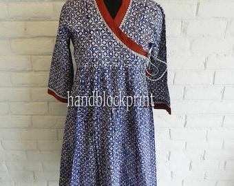 Women Blue Long Dress,Beach Cover Up,Maxi Dress,Printed Dress,Beach Dress,Summer Dress, Kimono Dress,Cocktail Dress,Indian Dress,Bath robe