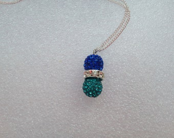 Cobalt and Turquoise Pave' Crystal Necklace