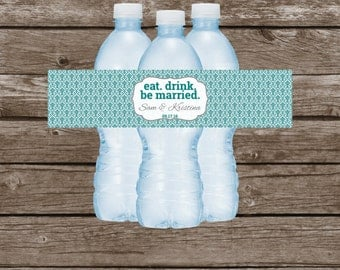 Personalized Wedding Water Bottle Labels - Wedding, Bridal Shower, Engagement Party -Water Bottle Label - Printable