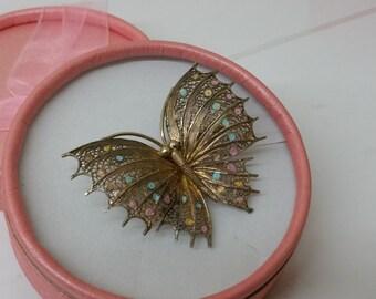 Old Butterfly brooch enamel gold plated SB276