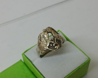 Silver ring with horses ring silver 20.8 mm SR708