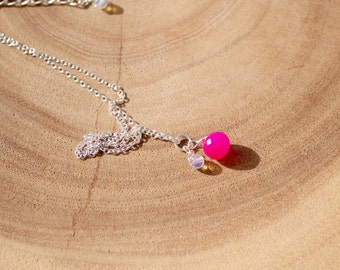 Pink Chalcedony Onion Briolette and Opal Necklace