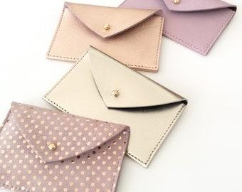 Leather Card Holder.Leather Card Case.Envelope Wallet.Leather Credit Card holder.Business Card Case.ID Wallet Minimal.Rose Card Holder.Pulpo