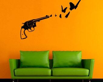 Gun Wall Sticker Revolver Vinyl Decal Weapon Decals Wall Vinyl Decor /7ikm/