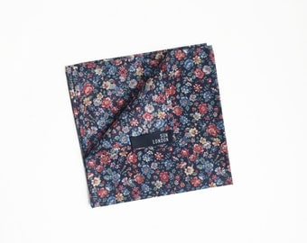 Soho Floral Pocket Square, Men's Hand-Rolled Handkerchief