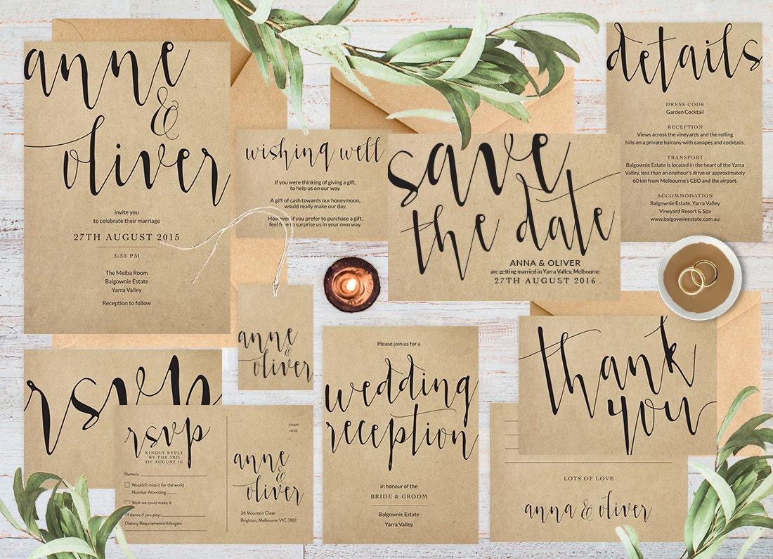 Rustic wedding invitation printable, Kraft paper wedding invitation set printable wedding invitation set, Rustic wedding set, Wedding suite