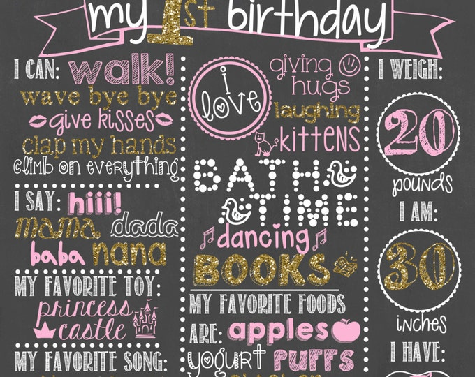 Pink and Gold First Birthday Chalkboard / Pink and Gold Girl Birthday Chalkboard/ Pink and Gold Chalkboard Sign / Girl First Birthday Board