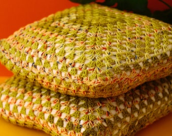 Handmade Crochet Cushions - Speckled Avocado - Free Delivery