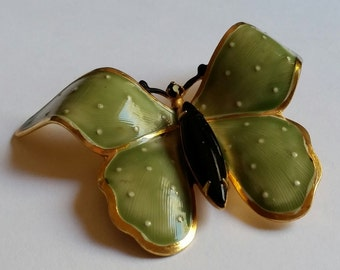 Vintage signed Original by Robert green butterfly brooch.
