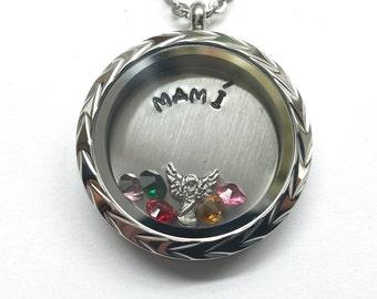 Mamí - Custom Floating Charm Locket - Memory Locket - Custom Hand Stamped Gift for Mom or Grandma