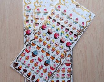 Pretty Gold Rim Cupcake Stickers for planning, scrapbooking and journalling!