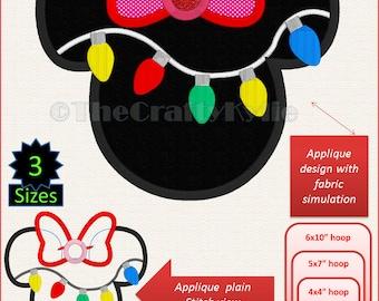 Disney Minnie Christmas Applique Designs 4x4 5x7 6x10 hoop
