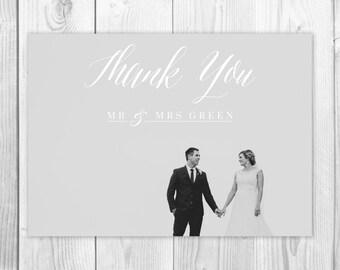 Custom Photo Wedding Thank You Card, Printable Calligraphy Thank You Postcard